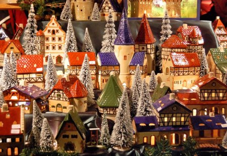 Toy village - house, village, tree, toy