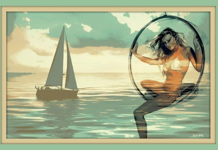 She hangs in the air and the sea - bikini, ocean, painting, beautiful, fantasy, dream, woman, girl, art, sea