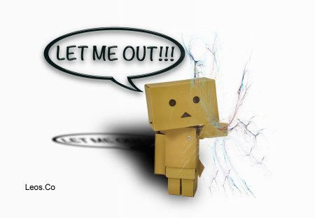 LET ME OUT!!! - white, leos co, let me out, screen, cracked, box man, danbo background, background, robot, boxes, crack screen, crack, box, computer, text bubble, box robot, broken screen, desktop background, man, broken, cracked screen, wallpaper, bubble, danbo wallpaper, danbo
