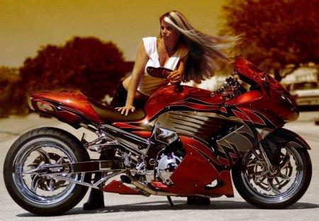 Bike Babe - sexy, bike, babe, tuned, red