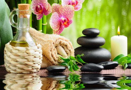 Spa treatment - grass, treatment, orchid, towel, candle, bamboo, flowers, spa, nice, petals, reflection, beautiful, greenery, lovely, bottle, stones, pretty, basket, green, leaves