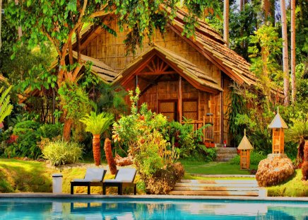 Pool house - pool, rest, holiday, branches, tropics, palms, blue, water, summer, nature, exotic, cabin, beautiful, tropical, palm trees, cottage, house