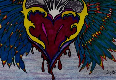 Heartwings - colorful, drawing, abstract, heart