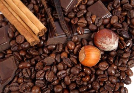 Chocolate and something more - cinnamon, chocolate, dark, coffee beans, hazelnuts