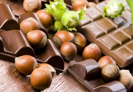 Chocolate and hazelnuts - hazelnuts, photography, dark, chocolate, sweet