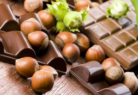 Chocolate and hazelnuts - sweet, photography, hazelnuts, chocolate, dark