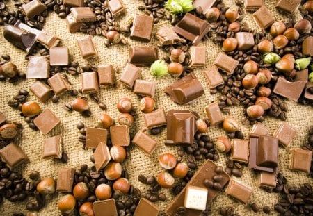 Pick up chocolate - chocolate, coffee beans, hazelnuts, sweet