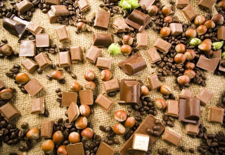 Pick up chocolate - coffee beans, sweet, hazelnuts, chocolate