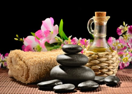 Spa - flowers, treatment, orchid, towel, spa, water, pink, beautiful, stones, still life, spa time, pleasant