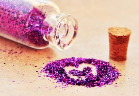 Glitter heart (for Mileny) - small, cute, sweet, image, tiny, glitter, photograph, color, pic, colour, wall, heart, wallpaper, purple, bottle, picture, photo