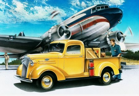 1937 CHEVROLET PICKUP - chev, vintage, vehicles, cars, planes, trucks, aircraft