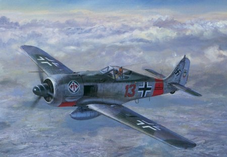 Focke Wulf FW-190 - ww2, silver, day, fast, plane, clouds, white, germany, war, air, airplane, sky, abstract, red, nature