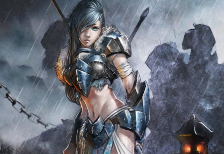 Fantasy Warrior - pretty, fantasy warrior, original, woman, armor, fantasy, girl, blue hair, anime, rain, blue eyes, anime warrior, long hair, sword, knight