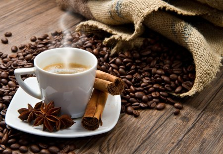Coffee Time - good morning, photography, wooden, beans, cup of coffee, coffee beans, beauty, beautiful, wood, coffee, cup, coffee time, still life, morning