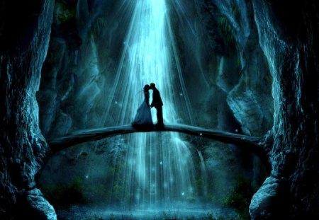 Isn 't It Romantic - woman, kiss, moon light, bridge, pond, man