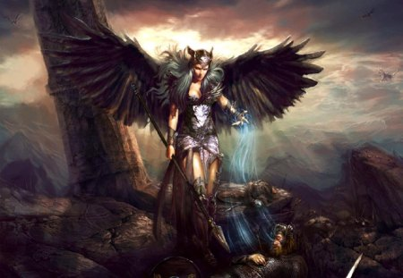 Odin\'s Valkyrie - flying horses, valkyrie, soul, warriors, battlefield