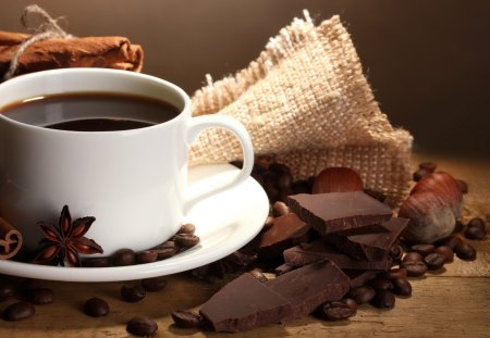 Cup of Coffee - good morning, chocolate, photography, beans, cup of coffee, coffee beans, sweet, beauty, beautiful, lovely, coffee, cup, coffee time, pretty, still life, morning