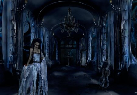 blue goth - night, goth, gothic, blue