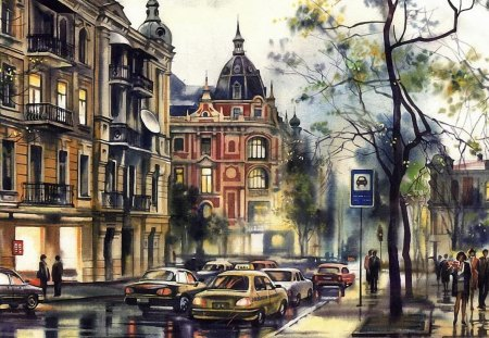 RAINY DAY IN THE CITY - traffic, buildings, cityscape, shopping, vehicles, weather, street scene, pedestrians, rain, climate