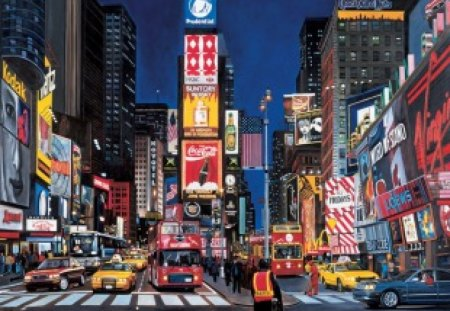 TIMES SQUARE - night lights, traffic, city lights, cityscape, vehicles, street scene