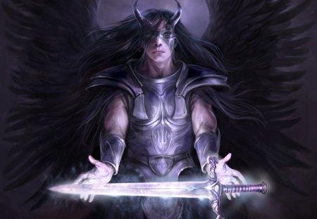 Anjo negro - alado, anjo, espada, anime, desenho