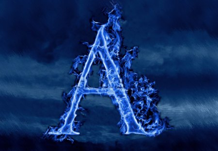 A - flame, blue, photoshop, a