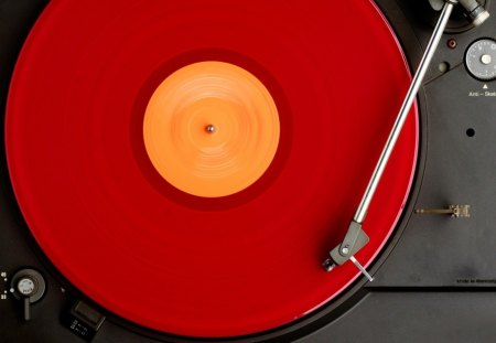 DJ turntable - dj, red, turntable, disco