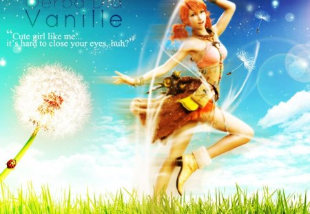 cute girl like me? - cute girl, vanille, carefree, nature, oerba dia vanille, final fantasy 13