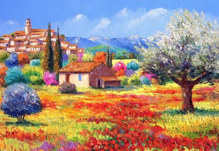South of france - paint, france, nature, city