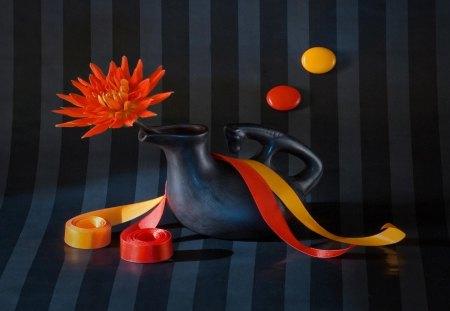 Still life - flowers, yolk, jar, still life, ribbons