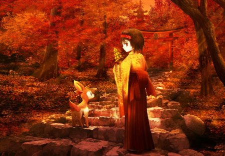 Autumn Walk - deerling, autumn, orange, girl