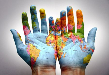 World in hand - photography, hand, world