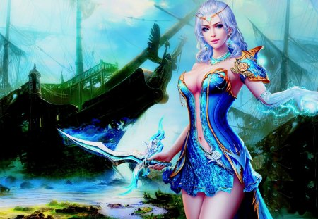 SEXY WARRIOR - pirate, ocean, magic, sword, warrior, sexy, woman, girl, ship, art, sea