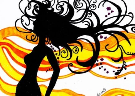 Silhouette - colorful, drawing, abstract, art