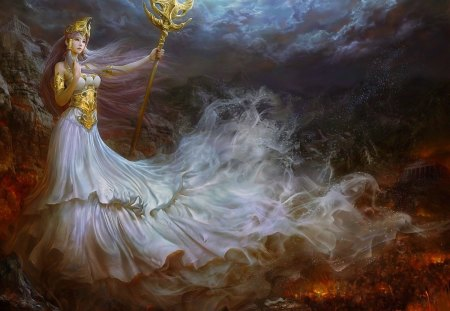 Queen of fantasy - beauty, colors, sorcerer, splendor, fantasy, queen