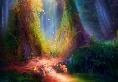 Magical colors in the forest - smart, peaceful, splendor, wonderful, colors, magic, tender, fantasy, dream, magical, fairy, girl, butterflies, fairyland, plants, dreams