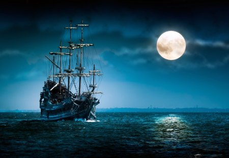 Sailing - oceans, high definition, clouds, boat, boats, splendor, beauty, waterscape, moonlit, art, widescreen, lovely, ocean, black, oceanscape, waves, sky, ocean waves, water, ghost, moonlight, seascape, white, ships, artistic, colorful, hd, sailing, beautiful, artwork, sea, sail, moon, full moon, blue, night, view, colors, caravela, 3d, ghost ship, peaceful, nature, sailboat, sailboats