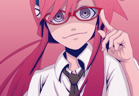 Pink girl - glasses, cute, cutie, nice, cool, girl, anime, awesome, pink