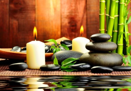 Spa candles - fire, candles, light, relax, spa, water, bamboo, beauty, reflection, stones, still life, green, leaves