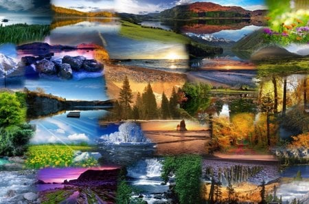 Natures Beauty - woods, flowers, forest, spring, sunsets, lakes, summer, trees, collage, fall, bay, sunrise, clouds, river, autumn, season, beach, weather, sky, mountains
