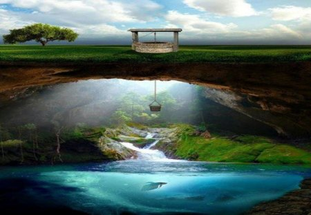 The Well - drink, ocean, deep, dig, water, hole, fantasy, tunnel, sea, well