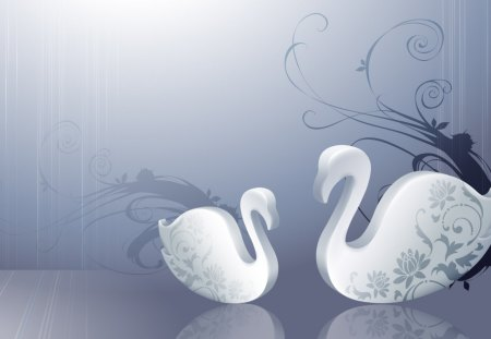 Abstract swans - animal, abstract, artwork, swan