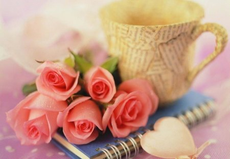 Romantic Notes - romance, soft, pink, notes, coffee cup, roses, heart, love