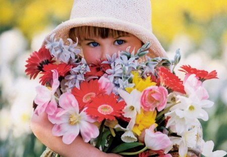child with flowers - flowers, child, tenderness, with