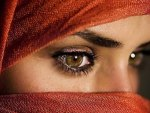Eyes with covered face.