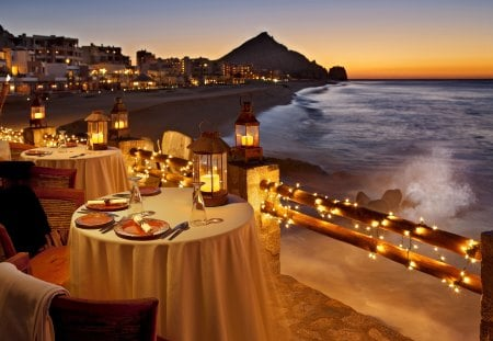 Romantic dinner at sunset - drink, ocean, breeze, romantic, waves, glow, evening, coast, lights, island, sea, twilight, sky, sunsetm night, water, nice, nature, exotic, table, beautiful, lovely, dinner, dusk, pretty, village, beach, shore