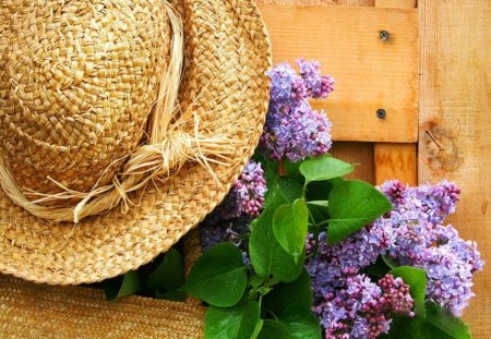 Freshly picked lilacs - fresh, flowers, door, pick, nice, summer, beautiful, lovely, pretty, hat, lilacs, fence, straw