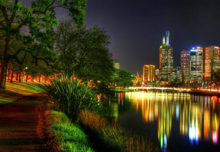 City Lights - yarra river melbourne australia, modern architecture, river, city lights