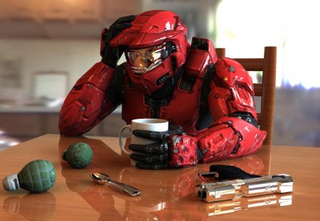 Master Chief Drinking Coffee - coffee, home sweet home, masterchief, cigarette, halo 3, red master chief