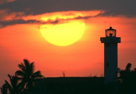 Sunset, Puerto Escondido Mexico - puerto escondido, mexico, light house, yellow, sunset
